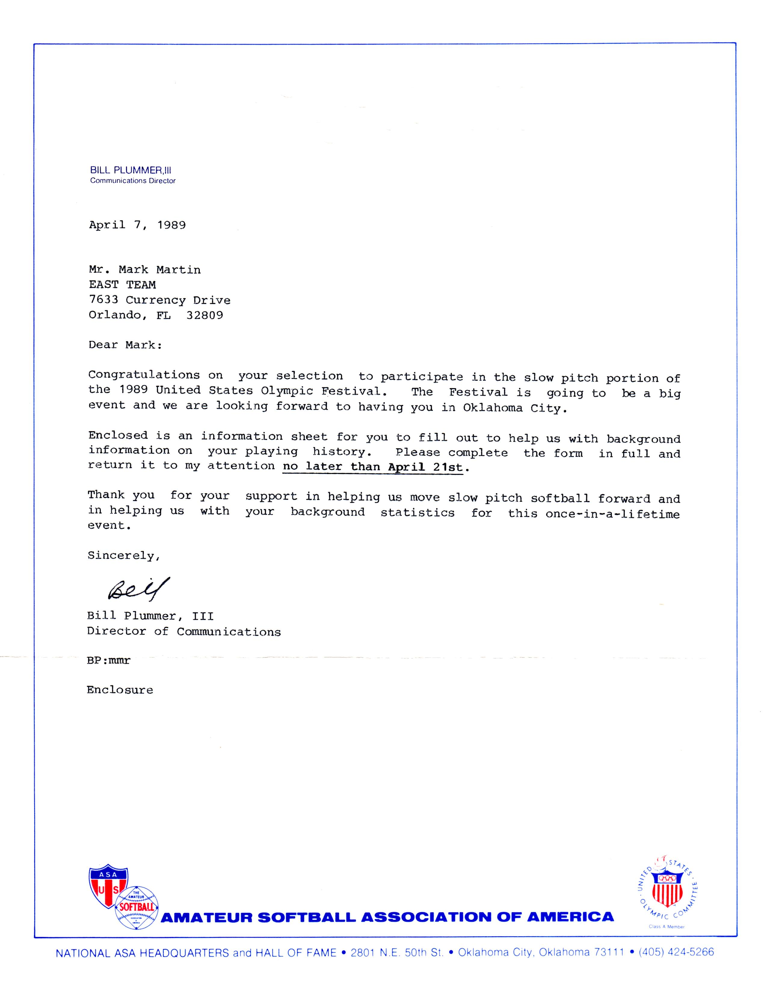 Mark martin softball archives bell corp official invitation letter from asa for the us olympic festival 1989 stopboris Images